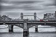 Red Bus In Front Of London Bridge<br /> London - November 2013