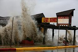Stock photo of waves from Hurricane Ike crashing around the Balinese Room in Galveston Texas