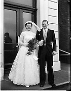 18/02/1957<br /> 02/18/1957<br /> 18 February 1957<br /> Wedding Dr K. Murphy and J. Fitzgerald at St. Mary's Church, Haddington Road and reception at Salthill Hotel, Monkstown. Bride and Groom  outside the hotel.