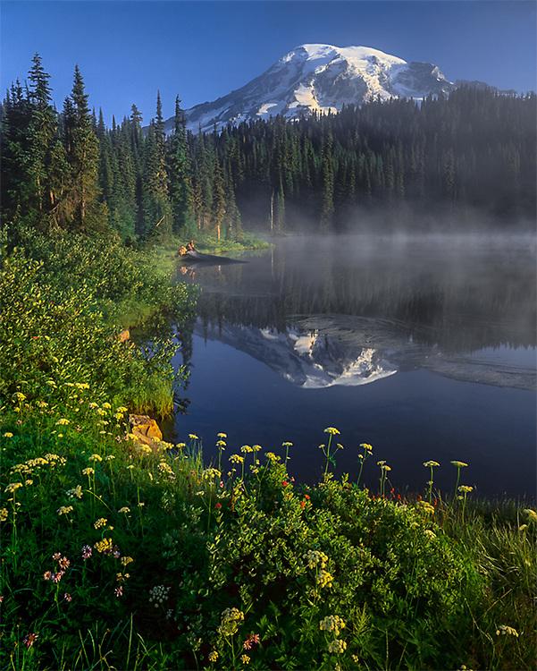Mount Rainier and Reflection Lake, Paradise area, morning light, summer, Mount Rainier Natioinal Park, Washington, USA