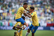 Neymar of Brazil celebrates after his goal with Paulinho and Philippe Coutinho during the 2018 FIFA World Cup Russia, round of 16 football match between Brazil and Mexico on July 2, 2018 at Samara Arena in Samara, Russia - Photo Thiago Bernardes / FramePhoto / ProSportsImages / DPPI