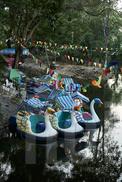 Swan pedal boats moored on a lake of the Saigon Zoo and Botanical Garden, Ho Chi Minh city, Vietnam, Southeast Asia