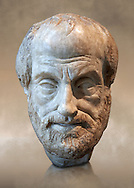 Roman bust of Greek philosopher Aristolte. 1st - 2nd century AD from Italy made of Pentilic Marble from Athens Greece. Aristotle lived around 384-322 BC and became the tutor of Alexander The Great. This bust was copied from a lost Greek bronze original by Lysippe (370-300BC) , sculptor to Alexander The Great. Traces of the original paint can be seen on the beard. From the Borghese collection Inv Mr or Ma 80 ,  Louvre Museum, Paris. .<br /> <br /> If you prefer to buy from our ALAMY STOCK LIBRARY page at https://www.alamy.com/portfolio/paul-williams-funkystock/greco-roman-sculptures.html- Type -    Louvre    - into LOWER SEARCH WITHIN GALLERY box - Refine search by adding a subject, place, background colour,etc.<br /> <br /> Visit our CLASSICAL WORLD HISTORIC SITES PHOTO COLLECTIONS for more photos to download or buy as wall art prints https://funkystock.photoshelter.com/gallery-collection/The-Romans-Art-Artefacts-Antiquities-Historic-Sites-Pictures-Images/C0000r2uLJJo9_s0c