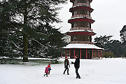 © Licensed to London News Pictures. 19/01/2013. Kew, UK A family play near the  garden's famous  Chinese Pagoda. People enjoy the snow at Kew Gardens in West London today 19th January 2013. More cold weather and snow are expected over the coming days.  Photo credit : Stephen Simpson/LNP