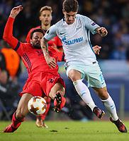 SAN SEBASTIAN, SPAIN - DECEMBER 07, 2017. 2017-18 UEFA Europa League Group L Round 6 football match: Real Sociedad (San Sebastian) - Zenit (St Petersburg) 1 - 3.  Real Sociedad's Alberto De la Bella Madueno (L) and Zenit St Petersburg's Emiliano Rigoni (R).