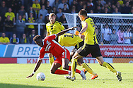 Scunthorpe United's Ike Ugbo (9) under pressure from Burton players during the EFL Sky Bet League 1 match between Burton Albion and Scunthorpe United at the Pirelli Stadium, Burton upon Trent, England on 29 September 2018.