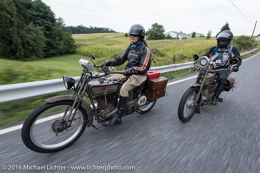 "Chris Sommer Simmons rides her bike ""Effie"" a 1915 Harley-Davidson along with her husband Pat Simmons of the Doobie Brothers, who is riding his 1914 Harley-Davidson during the Motorcycle Cannonball Race of the Century. Stage-1 from Atlantic City, NJ to York, PA. USA. Saturday September 10, 2016. Photography ©2016 Michael Lichter."