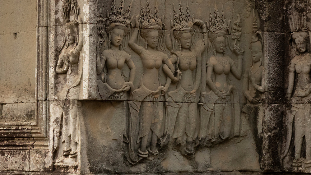 Bas-relief carvings of Aspara Dancers (heavenly nymphs) in Angkor Wat Temple, Central Structure,Siem Reap Cambodia