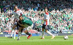 Falkirk's David McCracken and Hibernian's Farid El Alagui. <br /> half time : Hibernian 0 v 0  Falkirk, William Hill Scottish Cup semi-final, played 18/4/2015 at Hamden Park, Glasgow.