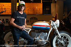 Jeremy Hutch with his completely handbuilt (other than the motor and motor cradle) Hutchbilt custom 1979 BMW R80 at the Handbuilt Show. Austin, TX. USA. Sunday April 22, 2018. Photography ©2018 Michael Lichter.