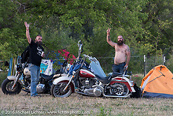 Doug Tirtlot and Pete Hedemark camping at the Buffalo Chip during the annual Sturgis Black Hills Motorcycle Rally. SD, USA. Thursday, August 11, 2016. Photography ©2016 Michael Lichter.