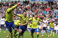 Birmingham City's Paul Caddis (c) celebrates after scoring the equaliser which saved his side from relegation. Skybet football league championship match , Bolton Wanderers v Birmingham city at the Reebok stadium in Bolton on Saturday 3rd May 2014.<br /> pic by David Richards, Andrew Orchard sports photography.
