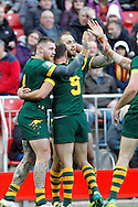 Josh Dugan left celebrates his try for Australia during the Ladbrokes Four Nations match between Australia and New Zealand at Anfield, Liverpool, England on 20 November 2016. Photo by Craig Galloway.