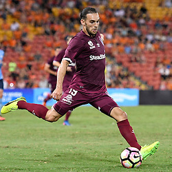 BRISBANE, AUSTRALIA - FEBRUARY 3: Jack Hingert of the Roar kicks the ball during the round 18 Hyundai A-League match between the Brisbane Roar and Sydney FC at Suncorp Stadium on February 3, 2017 in Brisbane, Australia. (Photo by Patrick Kearney/Brisbane Roar)