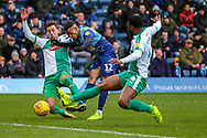 Wycombe Wanderers forward Paris Cowan-Hall(12) shoots towards the goal during the EFL Sky Bet League 1 match between Wycombe Wanderers and Plymouth Argyle at Adams Park, High Wycombe, England on 26 January 2019.