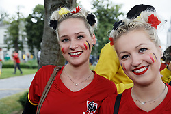 Belgian supporters attend a monitor broadcasting of FIFA World Cup 2018 match between Belgium and Panana in Tournai, Belgium, June 18, 2018. Photo Sylvain Lefevre