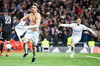 Real Madrid Cristiano Ronaldo and Lucas Vazquez celebrating a goal during Champion League match between Real Madrid and Juventus at Santiago Bernabeu Stadium in Madrid, Spain. April 11, 2018. (ALTERPHOTOS/Borja B.Hojas)