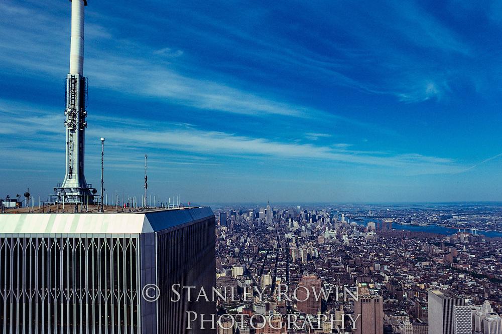 Midown Manhattan from original World Trade Cneter showing TV Antenna