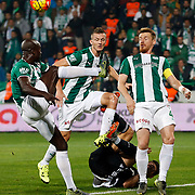 Bursaspor's Dany Nounkeu (L) and Serdar Aziz (R) during their Turkish Super League soccer match Bursaspor between Besiktas at the Ataturk Stadium in Bursa Turkey on Sunday, 08 November 2015. Photo by Aykut AKICI/TURKPIX