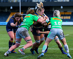 Taz Bricknell of Worcester Warriors Women is held up by the Harlequins defence - Mandatory by-line: Nick Browning/JMP - 20/12/2020 - RUGBY - Sixways Stadium - Worcester, England - Worcester Warriors Women v Harlequins Women - Allianz Premier 15s