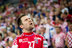 Ivan Cupic of Croatia reacts during handball match between National teams of Croatia and France on Day 7 in Main Round of Men's EHF EURO 2018, on January 24, 2018 in Arena Zagreb, Zagreb, Croatia.  Photo by Vid Ponikvar / Sportida