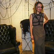 London, UK. 10th October, 2017. Designer Anna Kostina showcases her latest collection of Figure of A - Fashion inspired by Shibari Launch Night at the Underdog Gallery.