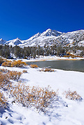 Fresh snow on Mount Abbot from Long Lake, John Muir Wilderness, Sierra Nevada Mountains, California