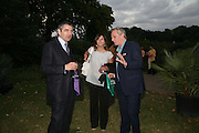 Rowan and Sunetra Atkinson and  Mark Shand , QUINTESSENTIALLY AND ELEPHANT FAMILY TRUNK SHOW PARTY. SERPENTINE PAVILION, HYDE PARK. 16 SEPTEMBER 2007. -DO NOT ARCHIVE-© Copyright Photograph by Dafydd Jones. 248 Clapham Rd. London SW9 0PZ. Tel 0207 820 0771. www.dafjones.com.