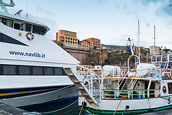 Sorrento, Italy, September 13 2017. Boats at their moorings in the harbour photographed on an early morning walkabout in Sorrento, Italy. © Paul Davey