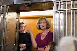 EDITORIAL USE ONLY<br /> Museum of London curator Jackie Keily (right) talks at the Hatton Garden Safe Deposit, in Hatton Garden, London, which was at the centre of a high profile heist in 2015 by a gang of career criminals who stole £14 million worth of jewels.