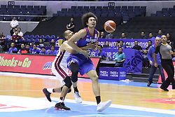 September 17, 2018 - Quezon City, NCR, Philippines - Japeth Aguilar (Blue) of the Philippines gets fouled hard by Mohamed Hassan A Mohamed (White) of Qatar. (Photo by Dennis Jerome Acosta/ Pacific Press) (Credit Image: © Dennis Jerome S. Acosta/Pacific Press via ZUMA Wire)