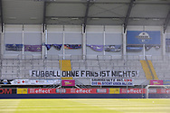 Banner flag Fanblock mit Plakat Fußball ohne Fans ist nicht<br /> Geisterspiel during the Paderborn vs Borussia Dortmund Bundesliga match at Benteler Arena, Paderborn, Germany on 31 May 2020.