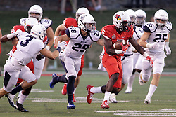 02 September 2017:   Artiss Henderson leads the pack down the field eventually being stopped by Jacob Balder during the Butler Bulldogs at  Illinois State Redbirds Football game at Hancock Stadium in Normal IL (Photo by Alan Look)