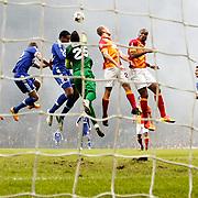 Galatasaray's Didier Drogba (R) during their UEFA Champions League Round of 16 First Leg match Galatasaray between Schalke 04 at the TT Arena Ali Sami Yen Spor Kompleksi in Istanbul, Turkey on Wednesday 20 February 2013. Photo by Aykut AKICI/TURKPIX