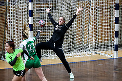 Vita Vinski of ZRK Krka Novo Mesto vs Karin Kuralt of RK Olimpija during handball match between RK Olimpija and ZRK Krka Novo Mesto in Round #10 of National Youth League in Season 2020-21, on May 2, 2021 in Hala Tivoli, Ljubljana, Slovenia. Photo by Matic Klansek Velej / Sportida