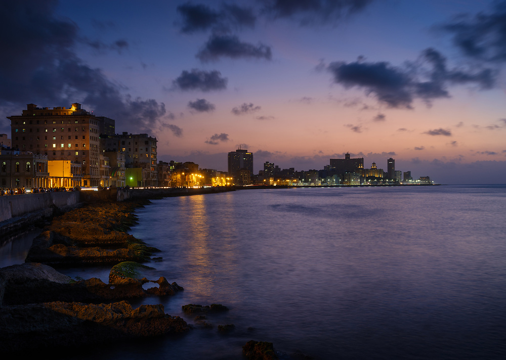 HAVANA, CUBA - CIRCA MAY 2017:  Havana skyline and the malecon at night. A popular tourist attraction in Havana.