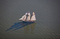 Pride of Baltimore Schooner shot from airplane