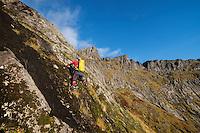Female hiker climbing steep off-trail terrain to Ertenhelltind, Moskenesøy, Lofoten Islands, Norway