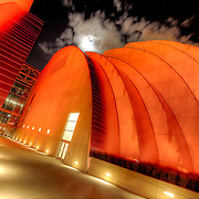 The Kauffman Center for the Performing Arts in Kansas City Missouri one weekend prior to its grand opening, in Sept. 2011, with a Red Friday lighting scheme.