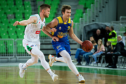 Jan Rebec of Petrol Olimpija vs Casey Bryan Benson of Hopsi during basketball match between KK Petrol Olimpija and KK Hopsi Polzela in Round #2 of Liga NovaKBM 2018/19, on October 21, 2018, in Arena Stozice, Ljubljana, Slovenia. Photo by Vid Ponikvar / Sportida