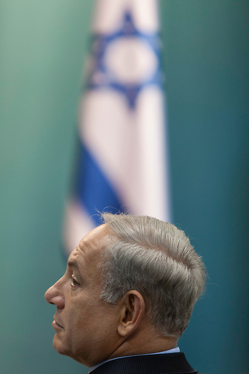 Israel's Prime Minister Benjamin Natanyahu attends the launch of a new virtual exhibition on the 'Google Cultural Institute' about former Israeli Prime Minister Menachem Begin, at the Prime Minister's Office in Jerusalem, Israel, on September 16, 2013.