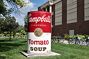 A giant Campbell Tomato Soup can sculpture by Andy Warhol on display at Colorado State University in Fort Collins, Colorado.