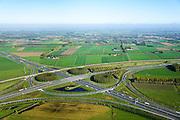 Nederland, Gelderland, Deil, 24-10-2013; knooppunt Deil, kruising A15 (vlnr) en A2, richting Utrecht (linksboven). Betuweroute vlnr parallel aan A15.<br /> Deil junction, main motorway A15 Rotterdam Harbour - Germany crossing A2 to the South. <br /> luchtfoto (toeslag op standaard tarieven);<br /> aerial photo (additional fee required);<br /> copyright foto/photo Siebe Swart.