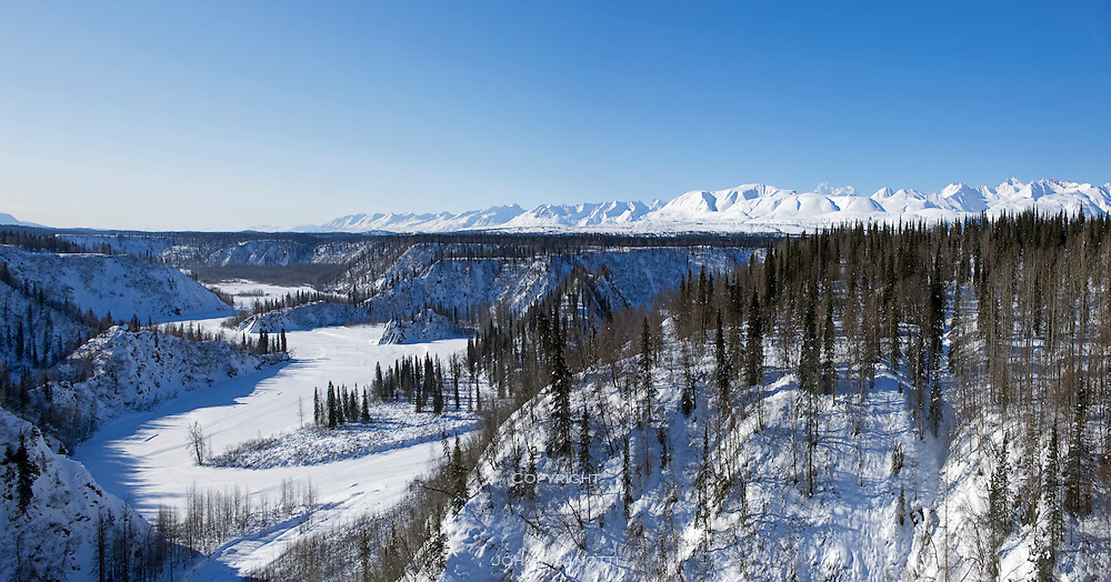 View looking southwest from the trestle spanning Hurricane Gulch. Alaska Railroad.