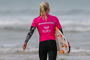 Eveline Hooft (NDL) heading out for the start of her 2nd Round Heat in the 2019 Boardmasters Roxy Pro Surf Competition, WSL Qualifier at Fistral Beach, Newquay, Cornwall on 8 August 2019.