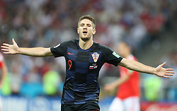 SOCHI, July 7, 2018  Andrej Kramaric of Croatia celebrates scoring during the 2018 FIFA World Cup quarter-final match between Russia and Croatia in Sochi, Russia, July 7, 2018. (Credit Image: © Yang Lei/Xinhua via ZUMA Wire)
