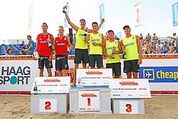 20150830 NED: NK Beachvolleybal 2015, Scheveningen<br />Podium Mannen NK 2015, Keemink - Vismans zilver, V.d. Velde - Boehle goud, Spijkers - Oude Elferink brons
