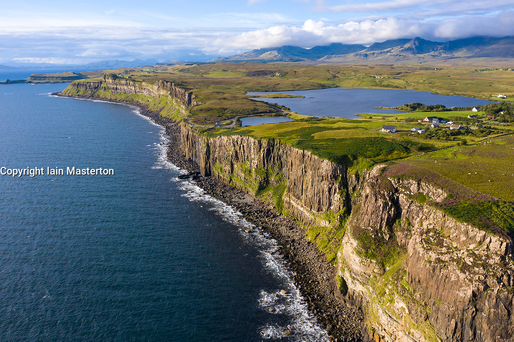 Aerial view of sea cliffs called Kilt Rock at Staffin on Trotternish peninsula on Isle of Skye, Scotland, UK