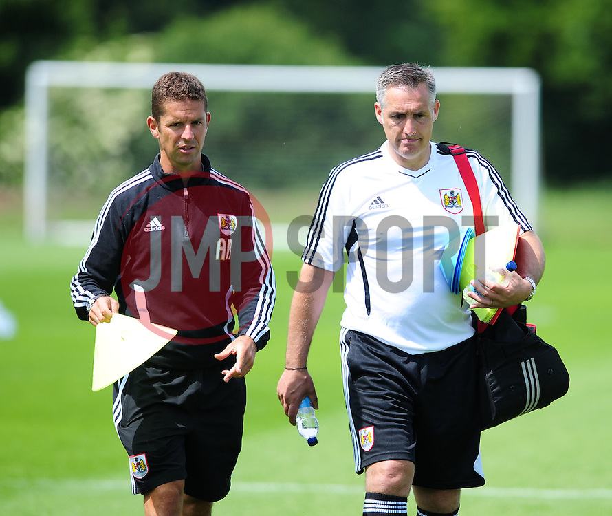 Bristol City's first team coach, John Pemberton and Alex Russell - Photo mandatory by-line: Dougie Allward/JMP - Tel: Mobile: 07966 386802 28/06/2013 - SPORT - FOOTBALL - Bristol -  Bristol City - Pre Season Training - Npower League One