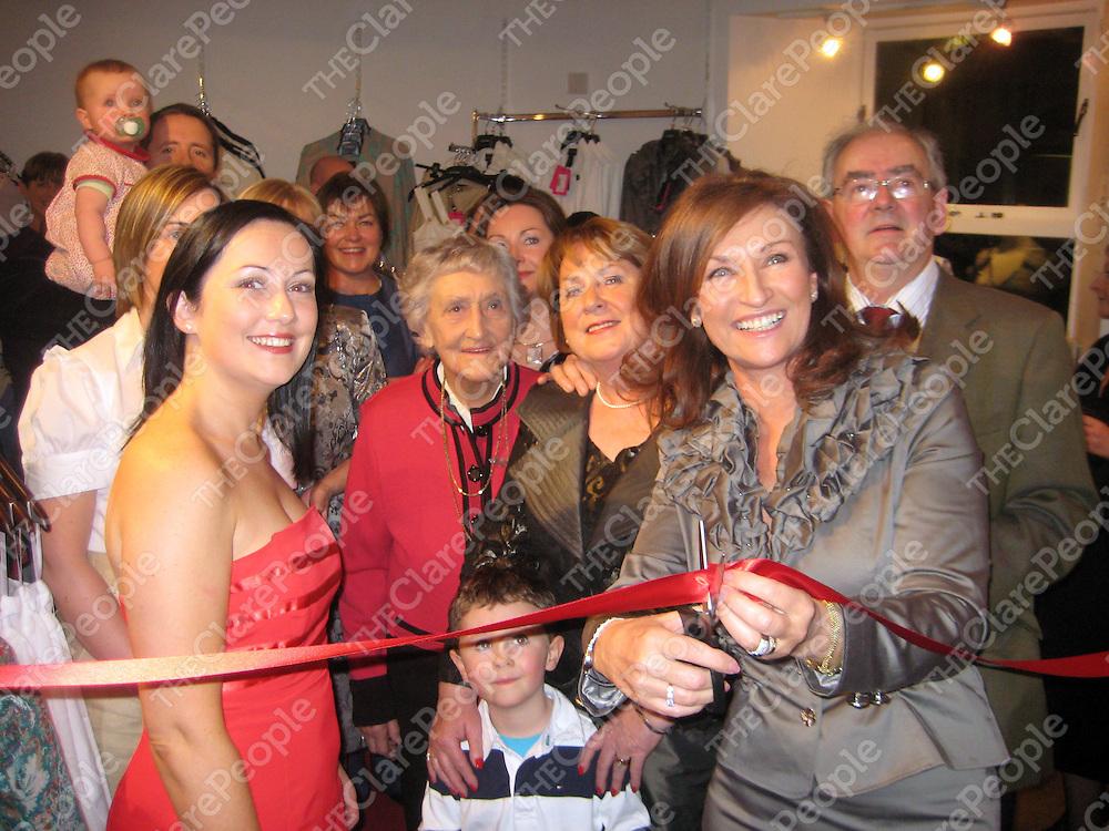 Celia Holman Lee cuts the tape to officially open Sweetie P's boutique in Killaloe.